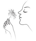 Girl holds in her hand tenderly daisy. The girl holds in her hand tenderly daisy. Smelling flowers. Vector illustration Royalty Free Stock Photo