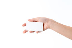 Girl holds in her Palm leaf white paper Stock Photography