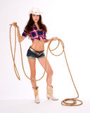 Country Girl holds Lasso Cowgirl Vertical Stock Image