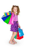 The girl holds many packages Stock Photos