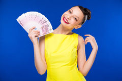 Girl Holds Money In Hands Stock Photography