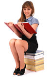 Girl holds the open book Stock Photography