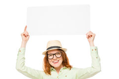 Girl holds a placard above his head Stock Images