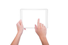 Girl holds a plate and tap the screen Royalty Free Stock Photo