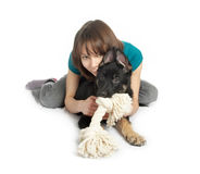 Girl holds the puppy in hands Royalty Free Stock Photos