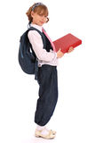Girl holds the red book Royalty Free Stock Photography