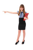 Girl holds the red book. Also specifies hand a direction Stock Image