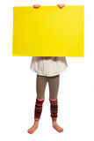 Girl holds the shield before his face Royalty Free Stock Image