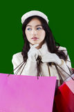 Girl holds shopping bags with green background Stock Photos