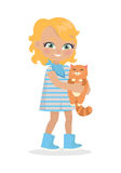 Girl Holds Small Cat in Hands Isolated on White Stock Photo