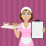 Girl holds tray with dessert and menu Royalty Free Stock Images