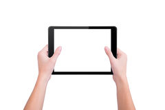 The girl holds two hands the tablet Royalty Free Stock Photo