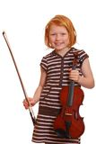 Girl holds violin Royalty Free Stock Photography