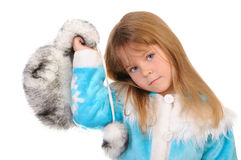 Girl holds winter fur cap Stock Image