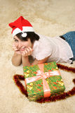 Girl with holiday box Royalty Free Stock Photo