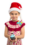 Girl with Holiday Cupcake stock image