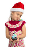 Girl with Holiday Cupcake royalty free stock photos
