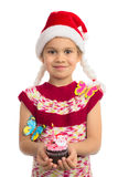 Girl with Holiday Cupcake royalty free stock image