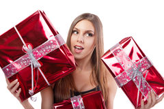 Girl with holiday gifts Royalty Free Stock Photography
