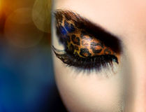 Girl with Holiday Leopard Makeup royalty free stock image