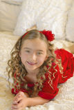 Girl in Holiday Red Dress Stock Photography