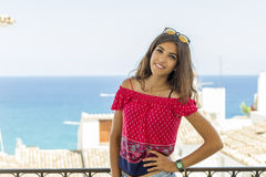 Girl on holiday in the Spanish Mediterranean Royalty Free Stock Photos