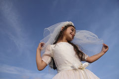 Girl in Holy Communion Dress and veil