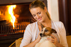 Girl home dog Stock Images
