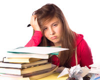 Girl and homework stock photo