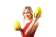 Girl with honey melons Royalty Free Stock Photography