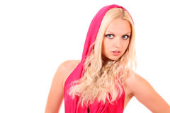 Girl in hood. Beautiful blond girl in pink hood on white Royalty Free Stock Images