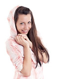 Girl in hood smiles Stock Photos