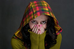 Girl in  hood of tattersall Royalty Free Stock Images