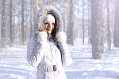Girl in hooded jacket. Portrait of girl in hooded jacket Royalty Free Stock Images