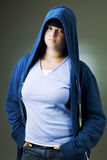 Girl in a hooded jacket Royalty Free Stock Photos