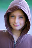 Girl in a hooded shirt Stock Photography