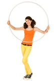 Girl with a hoop Stock Images