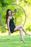 Girl on the hoop Royalty Free Stock Photography