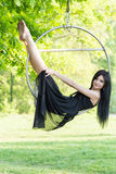 Girl on the hoop Stock Image