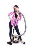 Girl with hoover. Young girl with hoover on a white background Royalty Free Stock Photography