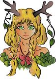 Girl with horns, drawing fantasy world, fairy tale forest royalty free illustration