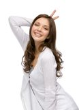 Girl horns gesturing Royalty Free Stock Photo
