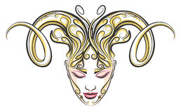 Girl with horns of a ram drawn in tattoo style. Hand drawn beautiful female face with ram horns .Illustration in tattoo style. Aries zodiac sign element Royalty Free Stock Images