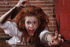 GIrl in Horror Situation With Bloody Face Royalty Free Stock Images