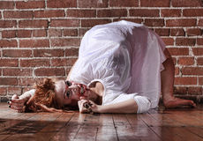 GIrl in Horror Situation With Bloody Face Royalty Free Stock Photography