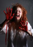 GIrl in Horror Situation With Bloody Face Royalty Free Stock Photos