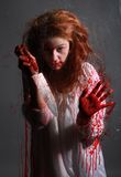 GIrl in Horror Situation With Bloody Face Stock Image