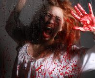 GIrl in Horror Situation With Bloody Face Stock Photos