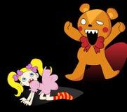 Girl and Horror Teddy Bear Stock Photography