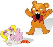 Girl and Horror Teddy Bear Stock Photos
